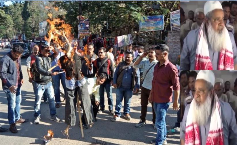 Silchar journalists burn effigy of Badaruddin Ajmal – Way2Barak